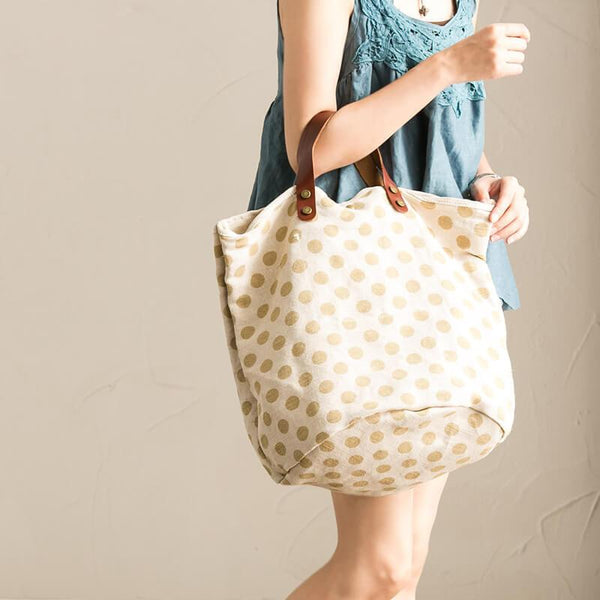 Handmade Canvas Cotton Lovely Dot Women's Handbag