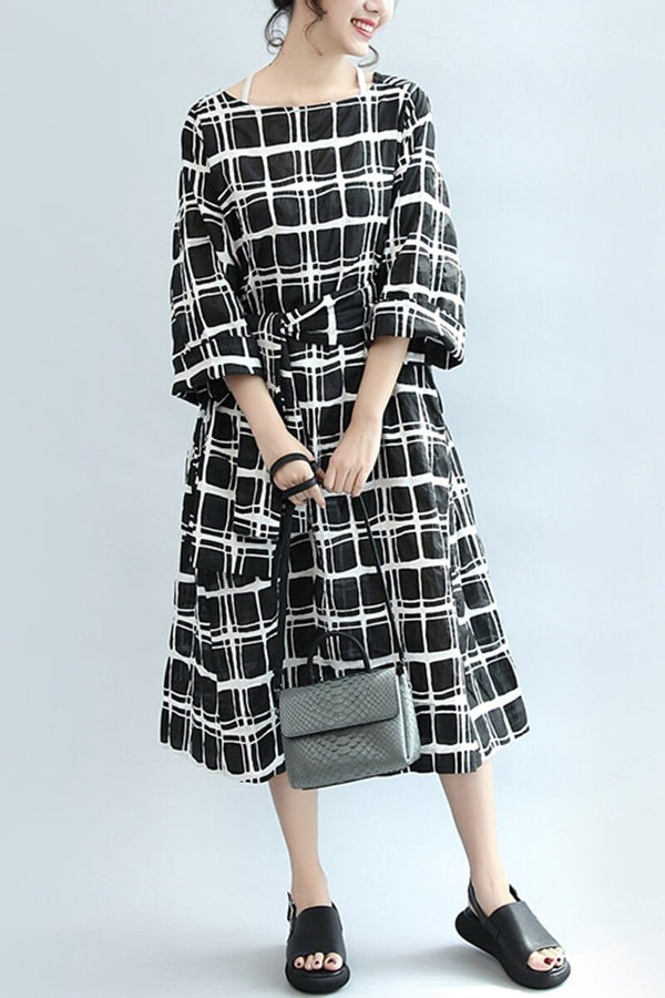 Plaid Casual Loose Linen Dress Women Clothes - FantasyLinen