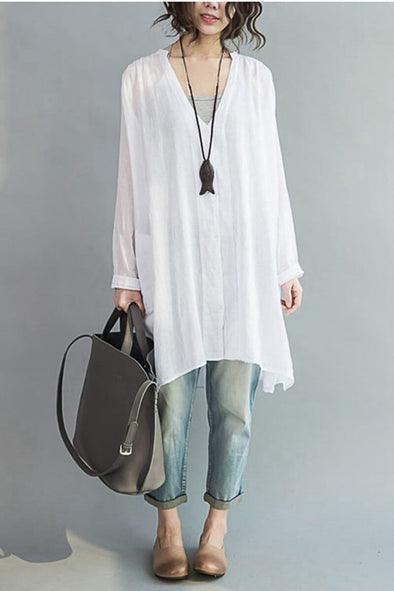 Art Casual Loose Long V-neck Cotton Shirt Women Clothes - FantasyLinen