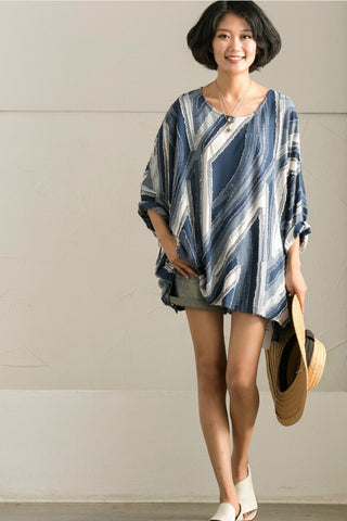 Korean Style Plus Size Stripe Bat Sleeve Shirt Women Clothes
