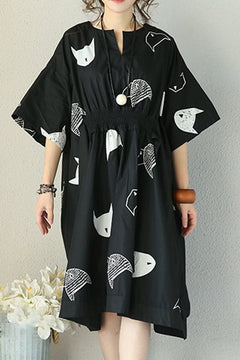 Art Fish Black Fold Loose Long Cotton Dress Women Clothes
