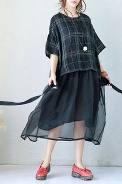 Art Plaid Loose Linen Mulberry Silk Dress Women Clothes