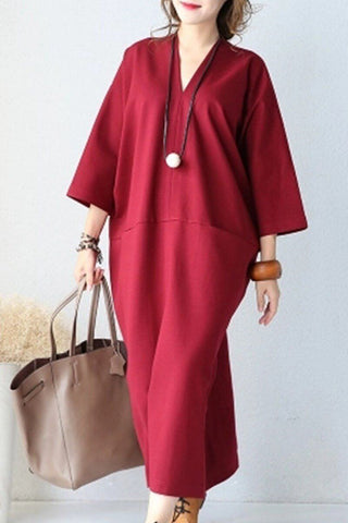 Art Fashion Loose Long Plus Size Cotton Dress Women Clothes
