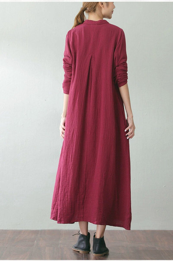 Long Loose Travel Cotton Linen Coat Women Clothes - FantasyLinen