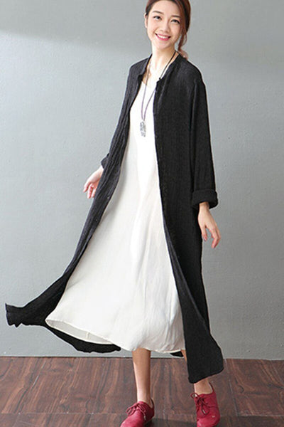 Casual Plus Size Linen Shirt Long Coat Women Clothes