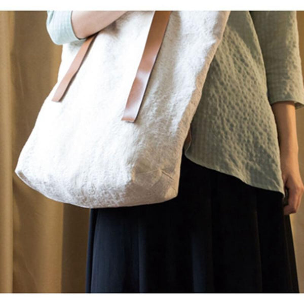 White Handmade Casual Linen Canvas Shoulder Bag Women Bags - FantasyLinen