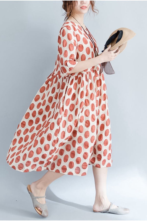 Red Dot Art Casual Travel Cotton Dress Women Clothes - FantasyLinen