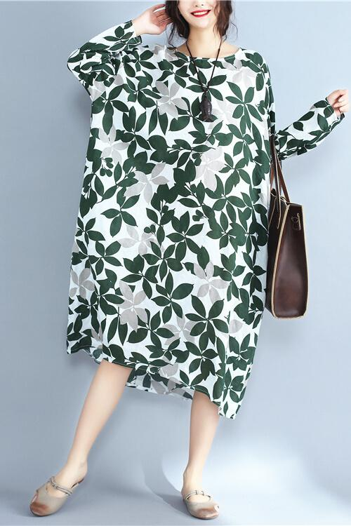 Green Leaf Plus Size Loose Simply Cotton Linen Dress Women Clothes - FantasyLinen