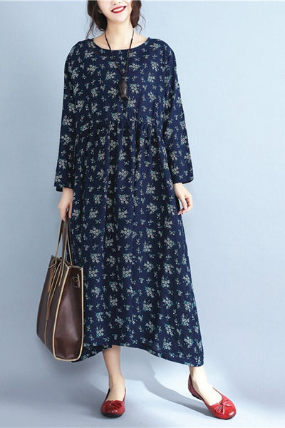 Floral Plus Size Vintage Loose Dress Women Clothes