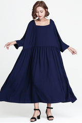 Blue Plus Size Loose Long Casual Cotton Dress Women Clothes