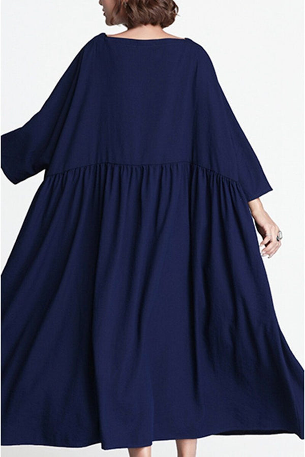 Blue Plus Size Loose Long Casual Cotton Dress Women Clothes - FantasyLinen