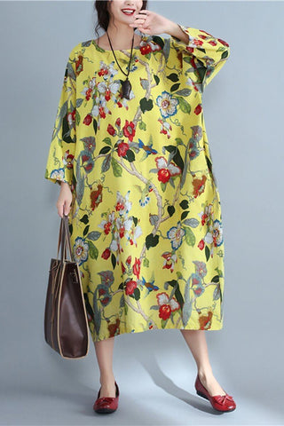 Round Neck Flowers pattern Random Loose Long Cotton Dress