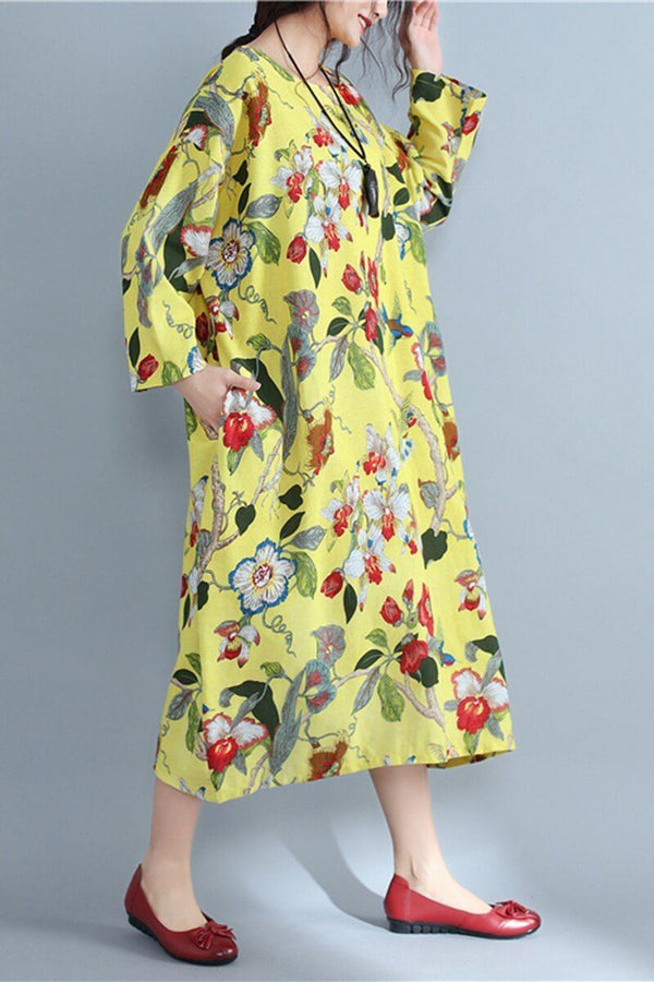 Round Neck Flowers pattern Random Loose Long Cotton Dress - FantasyLinen