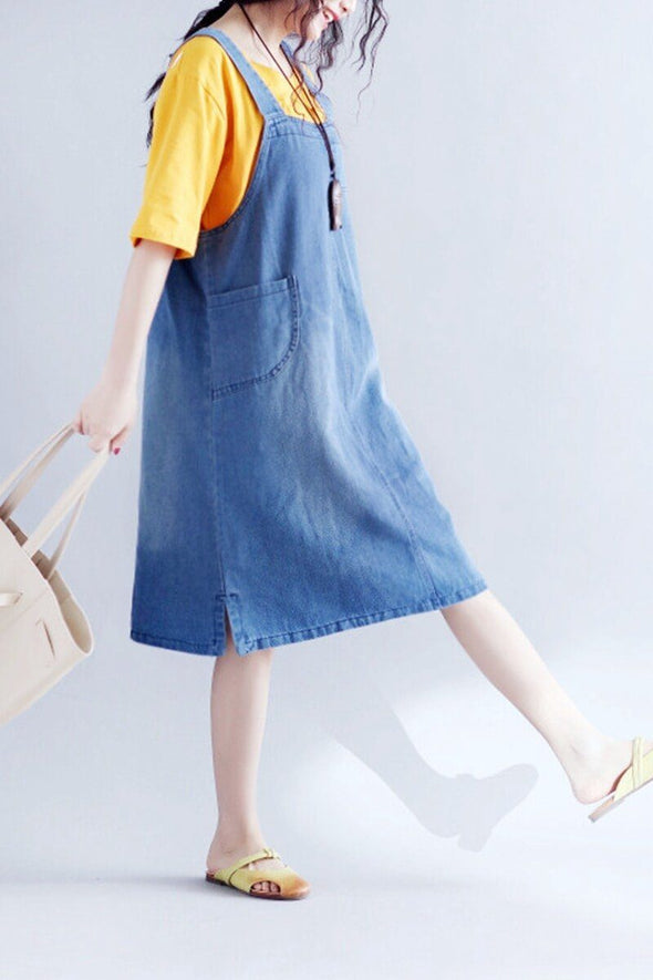 Black/Blue Big Pocket Denim Dress Q7847 - FantasyLinen