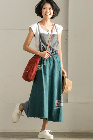 Korean Style Vintage Denim Suspender Skirt