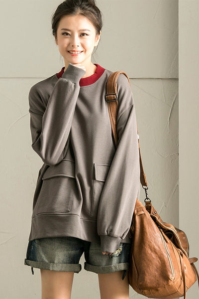 Big Pocket Fleece Jacket For Womens in Gray R8865B