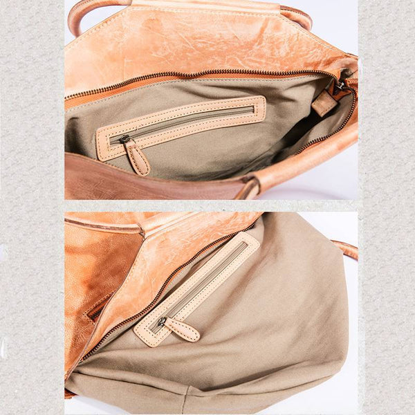 FantasyLinen Handmade Vintage Full Grain Leather Shoulder Bag, Simple Tote Bag B87185 - FantasyLinen