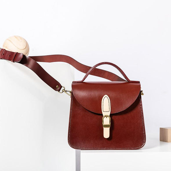 FantasyLinen Handmade Women Full Grain Leather Satchel, Vintage Crossbody Bag B87189 - FantasyLinen