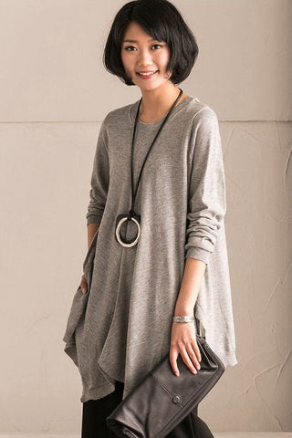 Light Gray Spring A-style Cotton Simply Long Knit Dress Women Clothes Z226A