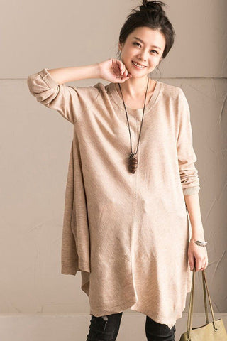 Rice Spring A-style Cotton Simply Long Knit Dress Women Clothes Z226A