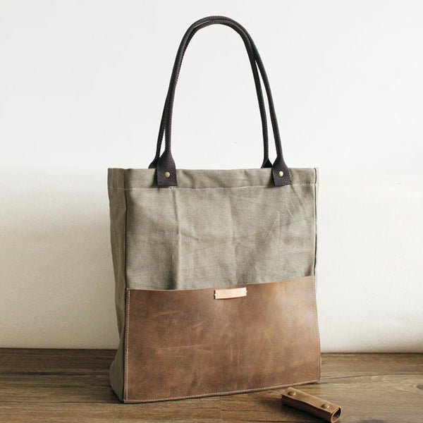 FantasyLinen Vintage Handmade Canvas With Leather Large Tote Bag, Shopping Handbag B50005