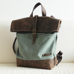 FantasyLinen Vintage Canvas Backpack with Leather Trim, Casual Backpack, School Rucksack B50008