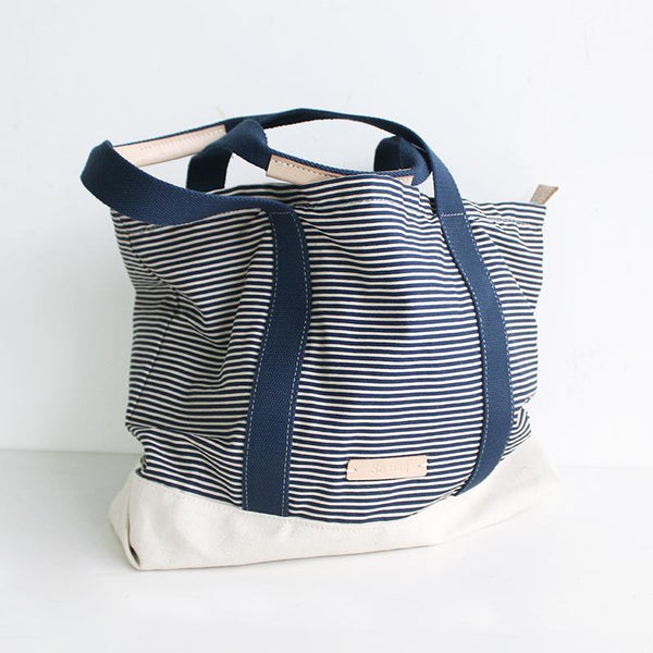 FantasyLinen Canvas Stripe Literary Tote bag, Handmade Shoulder Bag Shopping Bag B50015