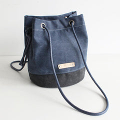 FantasyLinen Handmade Canvas Literary Bucket Bag, Women All-match Shoulder Bag B50017
