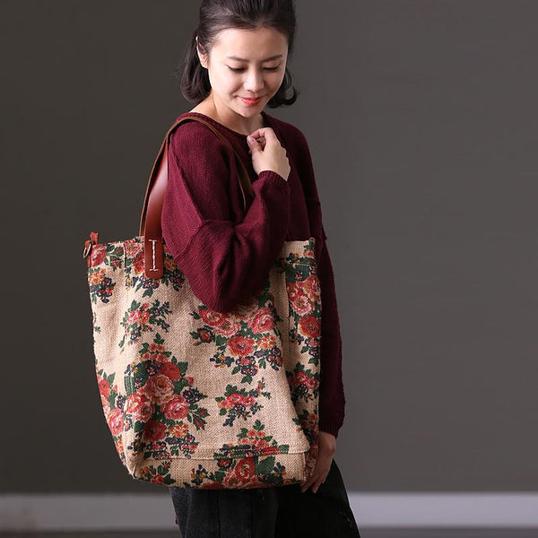 FantasyLinen Floral Linen With Leather Handle Tote Bag, Casual Shoulder Bag D269B