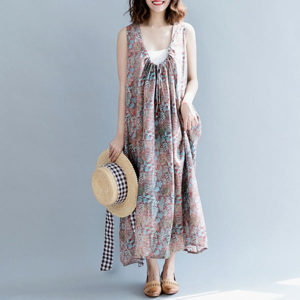 Floral Plus Size Stylish Women Casual Loose Fitting Long Dresses