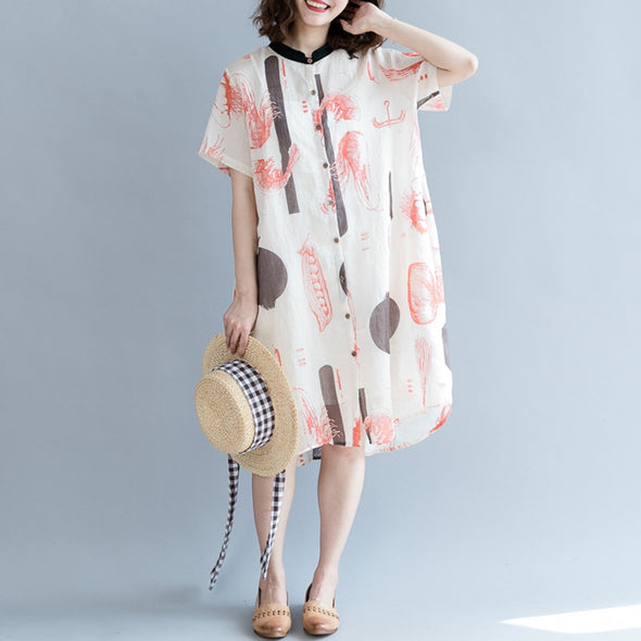 Big Floral Blouse Dresses Women Summer Cotton Linen Casual Loose Fitting Dresses - FantasyLinen