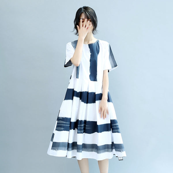 Round Neck Blue White Wide Stripe Women Summer Cotton Casual Loose Fitting Dresses
