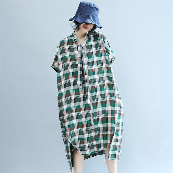 Plaid Plus Size Women's Blouse Green Summer Casual Loose Fitting Dresses
