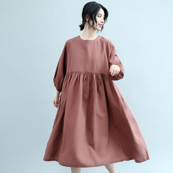 Fashion Women Long Dresses Orange Cotton Linen Loose Lady Dress Q2041