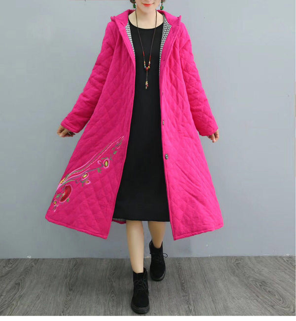 Four Colors Hoodie Embroidery Thicken Winter Coat For Women 1260
