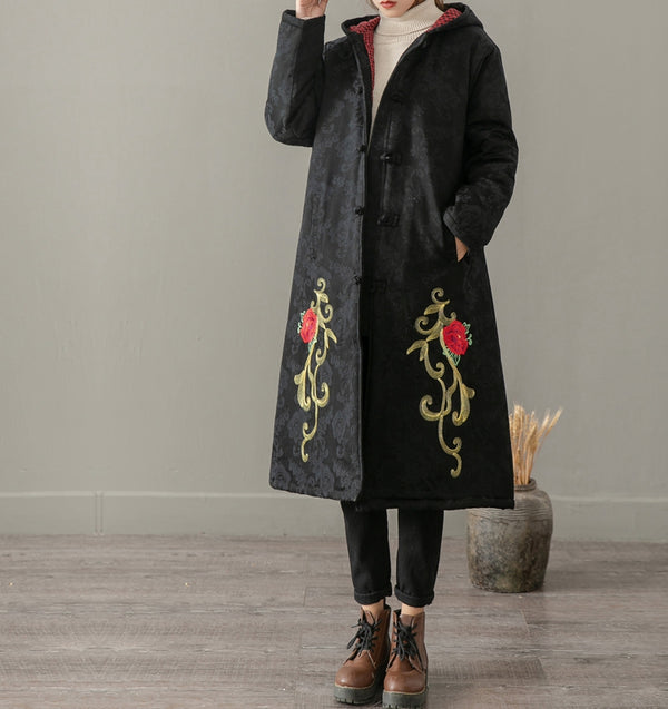 National Hoodie Embroidery Cotton Linen Winter Coat For Women 1237