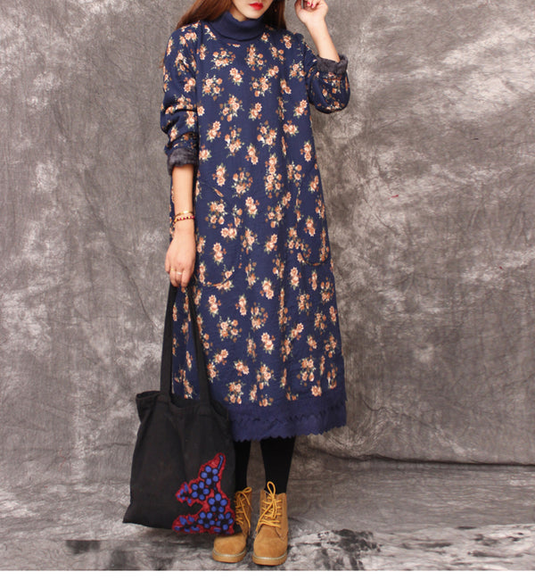 Women High Neck Floral Brushed Maxi Dresses For Winter 1263