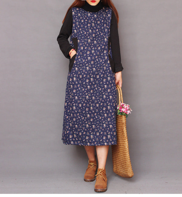 Casual High Neck Floral Maxi Winter Dresses For Women 1268
