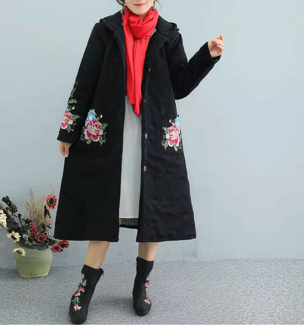Women Vintage Hoodie Embroidery Long Winter Coat 1272