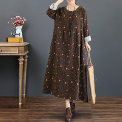 Cute Vintage Print Cotton Linen Maxi Dresses For Women 5219