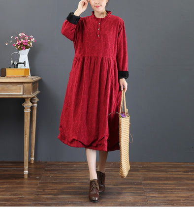 Women Casual Brushed Thicken Dresses For Winter 5210