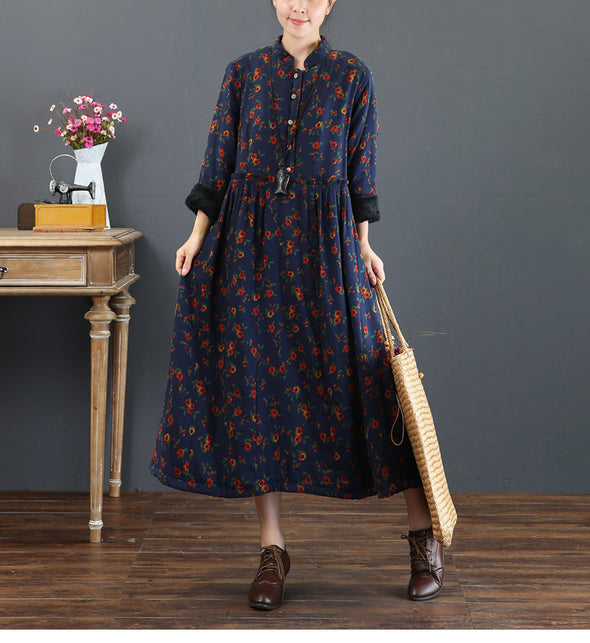 Blue Floral Brushed Thicken Maxi Dresses For Women 5211
