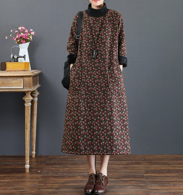 Casual Brown Floral Cotton Brushed Winter Dresses For Women 5212