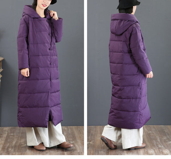 Women Vintage Black And Purple Hoodie Long Winter Coat 5857