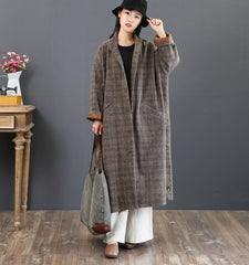 Vintage Plaid Thicken Winter Overcoat For Women 5859
