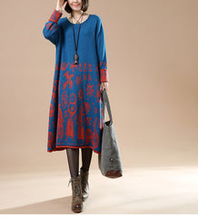 Loose Vintage Print Maxi Sweater Dresses For Women 9957
