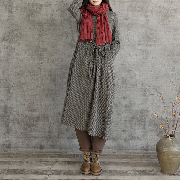 Casual Plaid Cotton Linen Dresses Women Loose Clothes Q6111