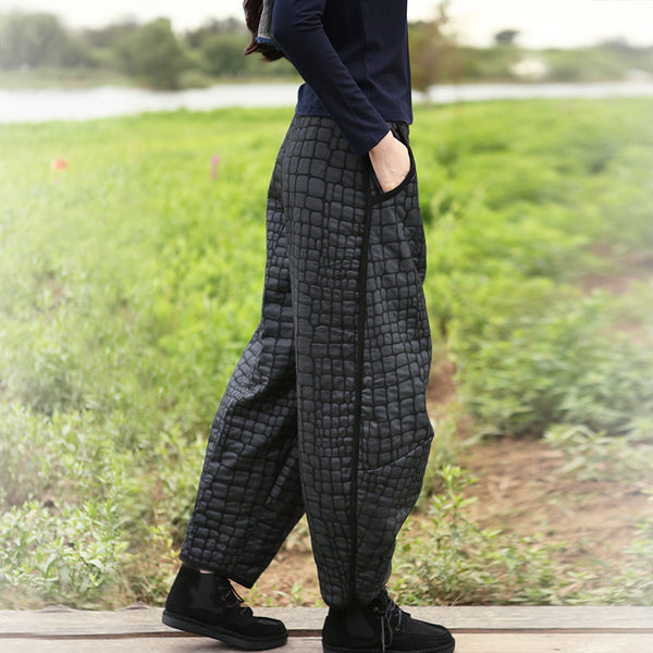 Fashion Gray Brushed Casual Pants Women Casual Thicken Trousers K5111
