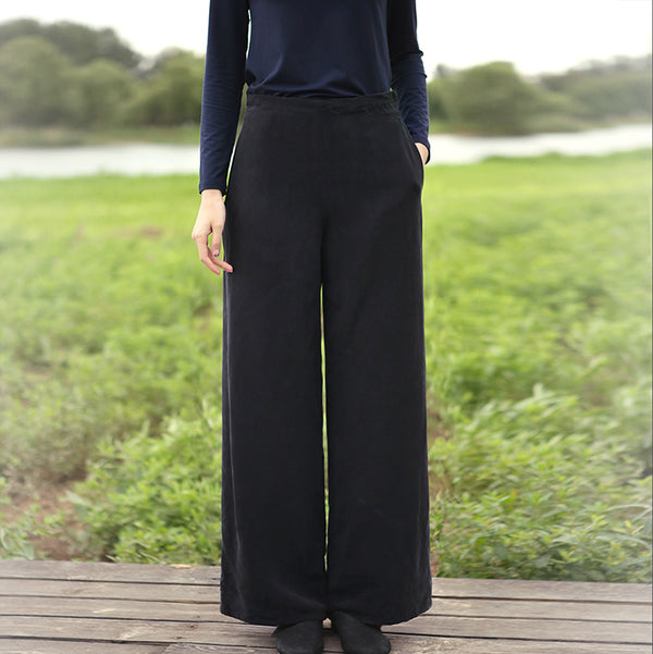 Elegant Loose High Waist Wide Leg Pants Women Casual Trousers K5112