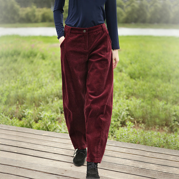 Women Thicken Corduroy Casual Pants Winter Trousers K5114